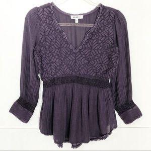 EUC William Rast purple Embroidered boho top
